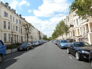 The the lovely Longridge Road in London, England, where my Barmy Badger Backpackers Hostel is, nestled among gracious English homes.