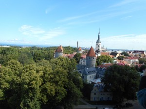 Tallinn's Old Town from the hilltop of its new town. Note the many steeples marking many lovely churches.