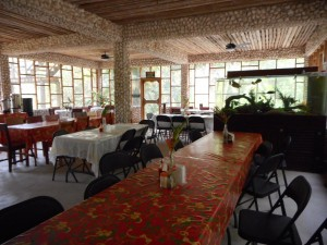 The lovely, screened dining room at the Jungle Lodge, Belize.
