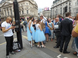 Blue dancing girls gathering for the big parade.