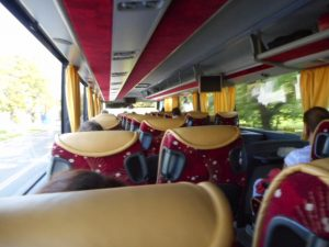Aboard the luxury bus between Tallinn, Estonia and St. Petersburg, Russia
