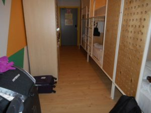 My six-bunk, female dorm room. Each bed is semi-enclosed and I carry sarongs to curtain the opening.