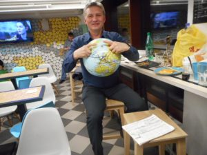"Victor and I ""blew up the world"" just as everyone expected the Russians and Americans to do. It's my inflatable globe....the only way to pack!"