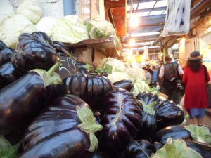 More giant Aubergine and their tremendous cabbage cousins.
