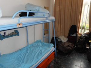 The bunks in Abraham Hostel in Jerusalem.
