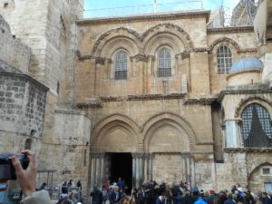 Jerusalem Church of the Holy Sepulcher. The ladder under the window is historical and can't ever be moved.